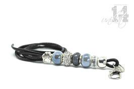 Exclusives Pfeifenband aus Echtleder 91 - schwarz/graublau