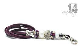 Exclusives Pfeifenband aus Echtleder 123 -bordeaux-violett/blumig
