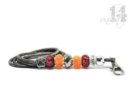 Exclusives Pfeifenband aus Echtleder 93 - grau meliert/orange/rot
