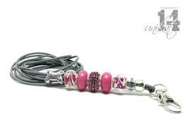 Exclusives Pfeifenband aus Echtleder 131 - steingrau/quietsch pink