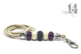 Exclusives Pfeifenband aus Echtleder 163 - creme/lilac