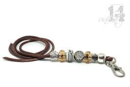 Exclusives Pfeifenband aus Echtleder 69 - antikbraun meliert/goldgelb