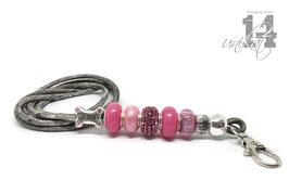 Exclusives Pfeifenband aus Echtleder 144- grau melliert/quietsch pink