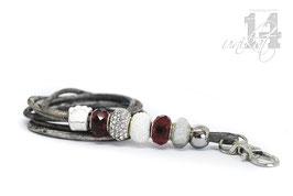 Exclusives Pfeifenband aus Echtleder 80 -grau meliert/rot