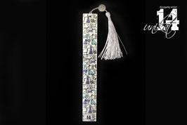 Trendiges Lesezeichen aus Resin - 4 blau-türkis-grau/perlmutt weiß