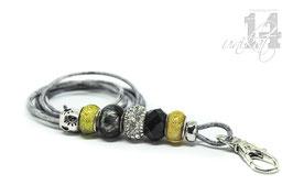 Exclusives Pfeifenband aus Echtleder 74 -grau meliert/gelb