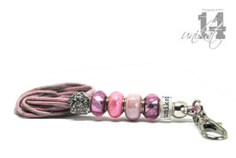 Exclusives Pfeifenband aus Echtleder 114 -rosa meliert/rosa
