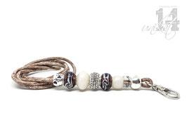 Exclusives Pfeifenband aus Echtleder 79 -taube hell meliert/weiß