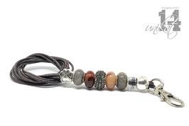 Exclusives Pfeifenband aus Echtleder 149 - dunkelbraun/achat