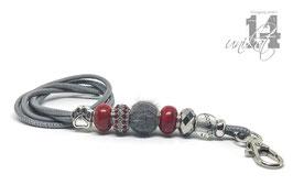 Exclusives Pfeifenband aus Echtleder 162 - hellgrau/rot