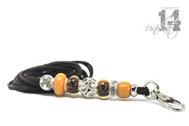 Exclusives Pfeifenband aus Echtleder 110 -dunkelbraun/goldorange
