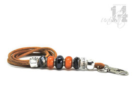 Exclusives Pfeifenband aus Echtleder 95 - cognac/orange