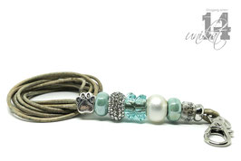 Exclusives Pfeifenband aus Echtleder 132 - marmor melliert/türkis