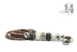 Exclusives Pfeifenband aus Echtleder 106 -taube hell meliert/weiß
