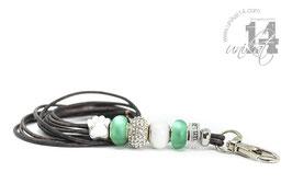 Exclusives Pfeifenband aus Echtleder 102 - antikbraungrau meliert/cateye grün