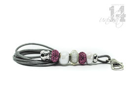Exclusives Pfeifenband aus Echtleder 75 -metallic anthrazit/pink