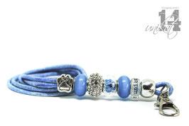 Exclusives Pfeifenband aus Echtleder 105 - meeresblau meliert/cateye blau
