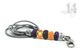 Exclusives Pfeifenband aus Echtleder 97 -hellgrau/orange/lila