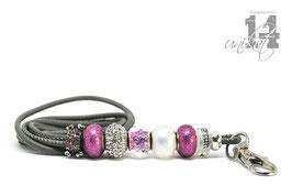 Exclusives Pfeifenband aus Echtleder 107 - steingrau/pink