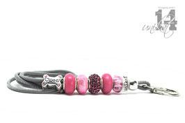 Exclusives Pfeifenband aus Echtleder 117 - grau/quietsch pink