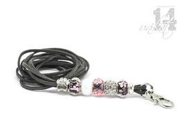 Exclusives Pfeifenband aus Echtleder 64 - dunkelgrau/rosa