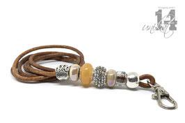 Exclusives Pfeifenband aus Echtleder 147 - hell cognac/beige