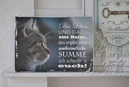 "Shabby Chic Schild -""Katze 3"""