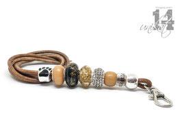 Exclusives Pfeifenband aus Echtleder 138 - dunkel cognac/gold