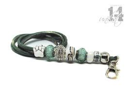 Exclusives Pfeifenband aus Echtleder 124 - meeresgrün melliert/grün