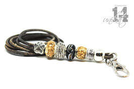 Exclusives Pfeifenband aus Echtleder 125 - taube grey melliert/gold