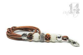 Exclusives Pfeifenband aus Echtleder 83 -metallic kupfer/weiß