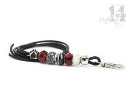 Exclusives Pfeifenband aus Echtleder 62 - schwarz/rot transparent