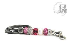 Exclusives Pfeifenband aus Echtleder 101 - hellgrau/pink
