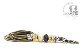 Exclusives Pfeifenband aus Echtleder 103 - marmor meliert/champagner