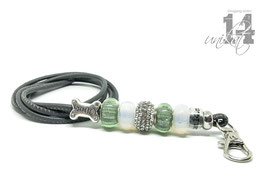 Exclusives Pfeifenband aus Echtleder 143 - anthrazit/blaßgrün