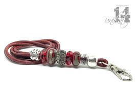 Exclusives Pfeifenband aus Echtleder 150 - rot/rot