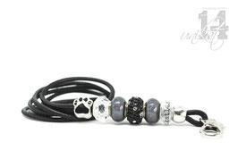 Exclusives Pfeifenband aus Echtleder 92 - schwarz/grau