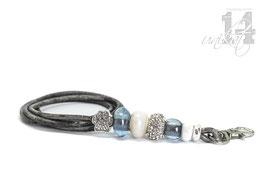 Exclusives Pfeifenband aus Echtleder 66 - grau meliert/eisblau