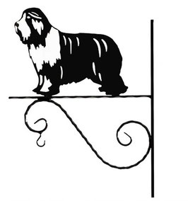 "Art:Nr: I-271 -Blumenampel ""  Bearded collie"""