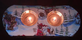 """Art:Nr:547Textiler Teelichthalter, Motiv """" Weihnachtshunde"""""""