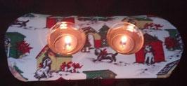 """Art:Nr:548Textiler Teelichthalter, Motiv """" Weihnachten für Hunde"""""""