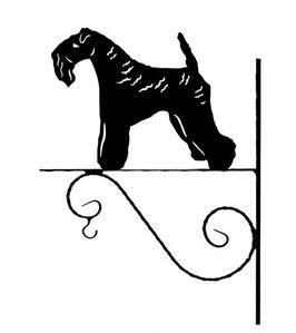 """Art:Nr:III-3 - Blumenampel """" Kerry Blue Terrier"""""""