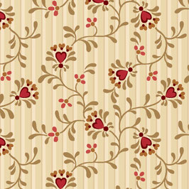 8835-44 BERRIES & BLOSSOMS CORAZONES FONDO CREMA