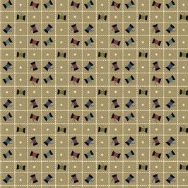 8818-44 PRIMITIVE STITCHES CUADROS CON CARRETES FONDO CREMA