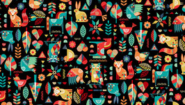 2300-X FOLK FRIENDS ANIMALES FONDO NEGRO