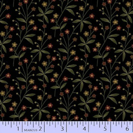 8284-0112  MARCUS PRIMITIVE THREADS NEGRO RAMITAS CON FLORES