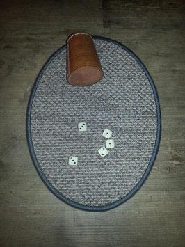 Würfelteppich oval grau