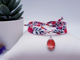 Bracelet MADELINE/médaille rouge framboise