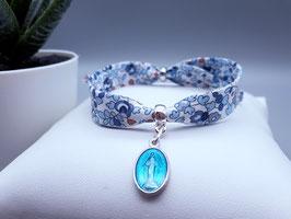 Bracelet liberty MADELINE/médaille bleu