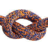 Halsband 12 mm Fettleder dark blue & orange mix